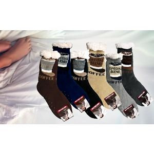 Teplé domácí ponožky s motivem - Modré