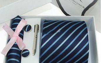 Dárková sada kravaty, kapesníku a manžetových knoflíčků - VÝPRODEJ