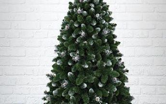 Umělý vánoční stromek - Borovice Gold s bílými konci a šiškami 180 cm