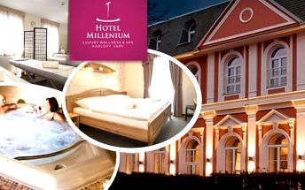 Hřejivé wellness pro dvav lázeňském městě Karlovy Vary. Luxusní pobyt v Karlových Varech v Hotelu Millenium****na 3 dny s vynikající polopenzí. V ceně balíčku uvolňující vodní procedura - komfortní vířivka a relaxační hřejivé procedury - teplý rašelinov