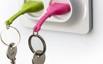 Věšáček na klíče se zelenou a růžovou klíčenkou Qualy Double Unplug