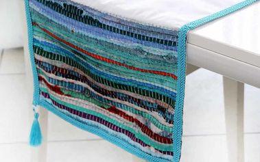Běhoun na stůl Mode, 35x140 cm, modré pruhy