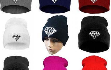 Unisex zimní čepice s motivem diamantu