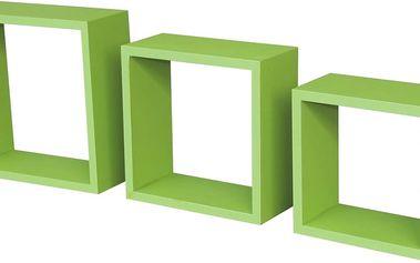 Nástěnný regál Simple 3, zelený, 30/30/12 cm