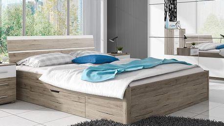 Manželská postel Dione 1 - dub san remo - DOPRAVA ZDARMA!