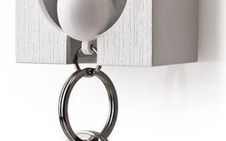 Bílý věšáček na klíče s bílou klíčenkou Qualy Sparrow