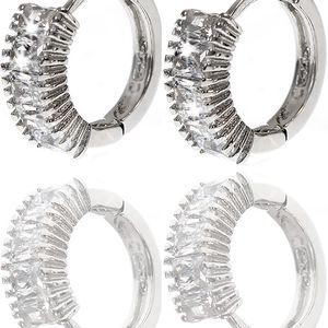 Fashion Icon Náušnice kroužky s čirými krystalky
