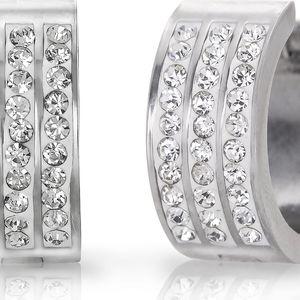 Fashion Icon Náušnice kroužky tři řady krystalků chirurgická ocel