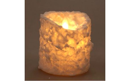 Vánoční svíčka s dekorem sněhu LED