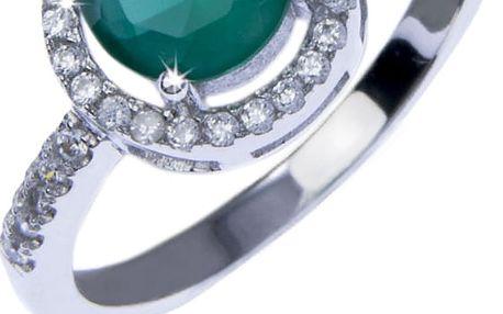 Fashion Icon Prsten stříbro bílé a zelené krystalky