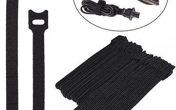 Stahovací pásky na suchý zip - 50 kusů