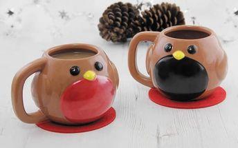 Vánoční hrnek ptáček Robin s měnícím se bříškem