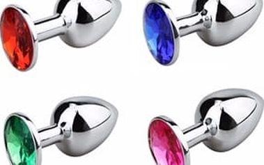 Anální kolík kovový s krystalem malý - 12 barev