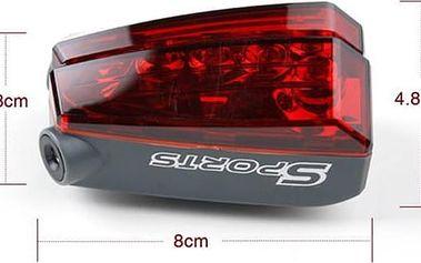 Zadní červené světlo pro kolo, s laserem
