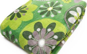 Deka z mikrovlákna FRACTAL 150x200 cm zelená vzor květy essex