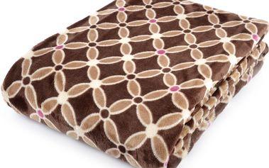 Deka z mikrovlákna HAMILTON 150x200 cm hnědá geometrický vzor Essex
