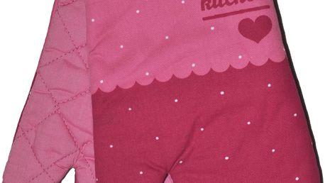 Kuchyňské rukavice chňapky SWEET KITCHEN 18x30 cm růžová motiv srdce Essex