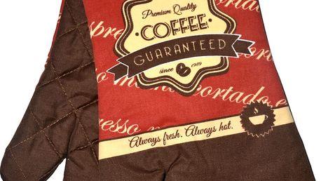 Kuchyňské rukavice chňapky ESPRESSO 18x30 cm červená coffee motiv Essex