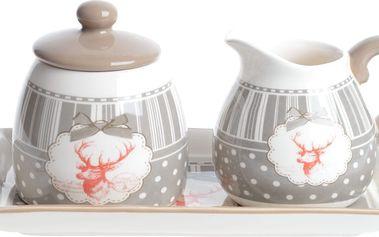 Sada mléčenky a cukřenky s podnosem Ewax Reindeer