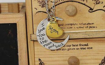 Rodinný řetízek s přívěskem - měsíc a srdce