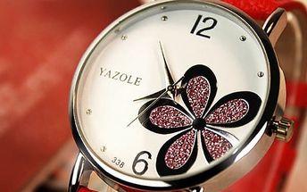 Dámské hodinky s kvítkem v různých barvách
