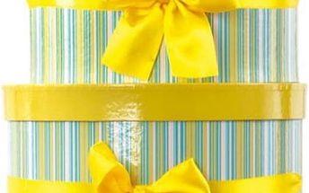 Dárkové krabice žluto-zelené kulaté sada 2 ks
