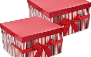 Dárkové krabice červené čtvercové sada 2 ks