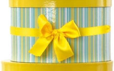 Dárkové krabice žluto-zelené kulaté sada 3 ks