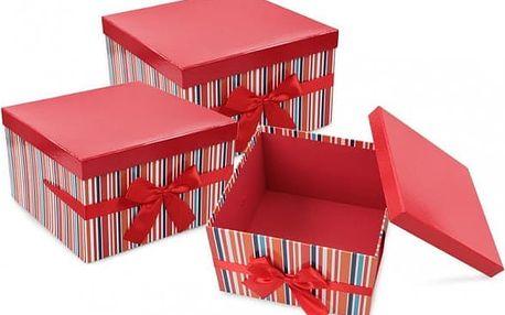 Dárkové krabice červené čtvercové sada 3 ks