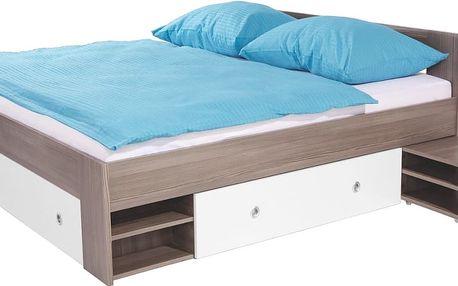 Postel s výsuvnými nočními stolky a úložným prostorem v dekoru Avola/bílá Azurro, 180x200cm