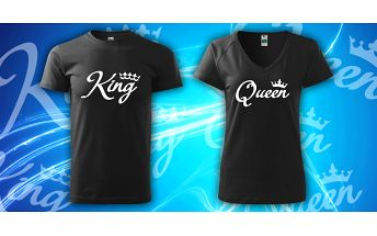 Párová trička s potiskem King & Queen
