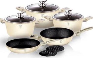 BERLINGERHAUS Sada nádobí s mramorovým povrchem10 ks Cream Metallic Line