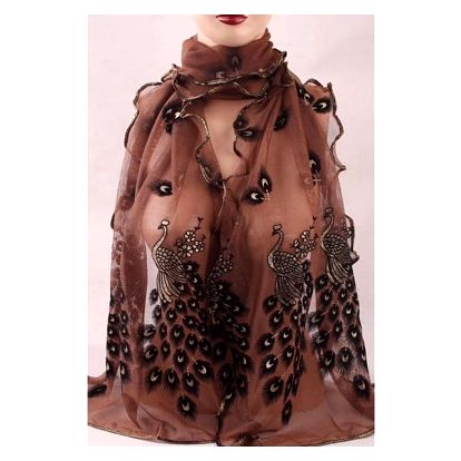 Paví pírka - jemný šátek - kávová barva - dodání do 2 dnů