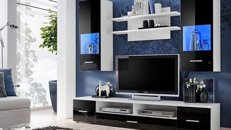 Obývací stěna RENO, bílá/černý lesk