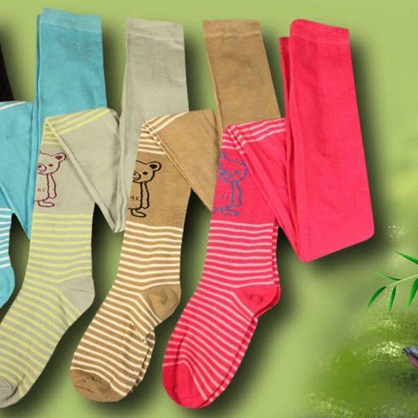 Dívčí bambusové punčocháče s medvídkem