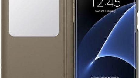 Pouzdro na mobil flipové Samsung pro Galaxy S7 Edge (EF-CG935P) (EF-CG935PFEGWW) zlaté