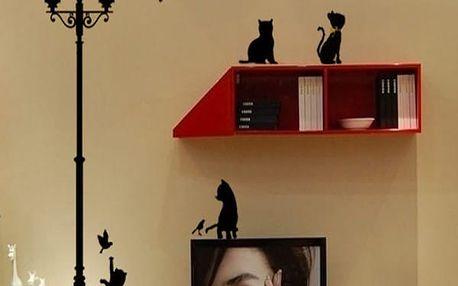 Samolepka na zeď - lampa s koťátky