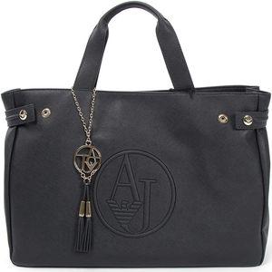 Armani Jeans Saffiano Leather East West Tote - modro-černá