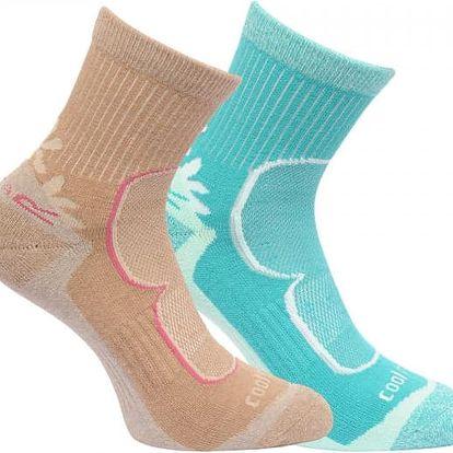 Dámské funkční ponožky Regatta RWH031 W Active LS 2Pack hnědá/modrá