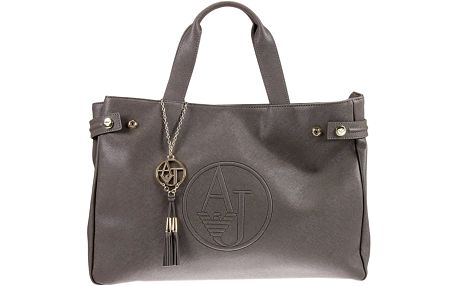 Armani Jeans Saffiano Leather East West Tote - taupe