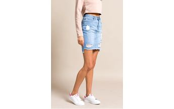 Missguided - Sukně Stepped Hem Denim