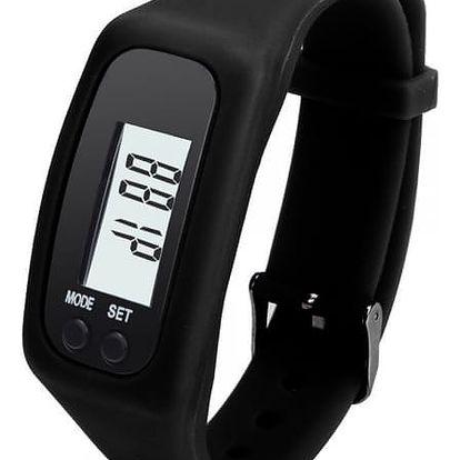 Silikonové hodinky s krokoměrem - černé - dodání do 2 dnů