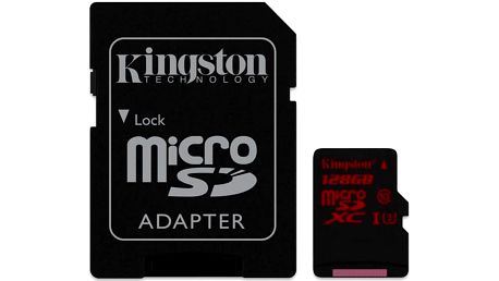 Kingston MicroSDXC 128GB UHS-I U3 (90R/80W) + adapter (SDCA3/128GB)