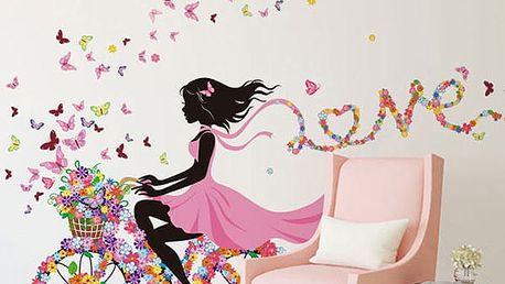 Samolepka na zeď - dívka na květinovém kole