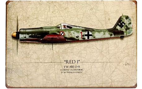 Plechová retro cedule - vojenský letoun
