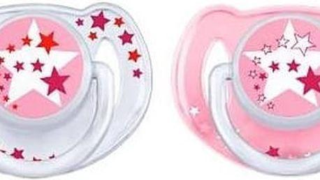 Dudlík/šidítko AVENT noční 6-18m bez BPA bílé/růžové