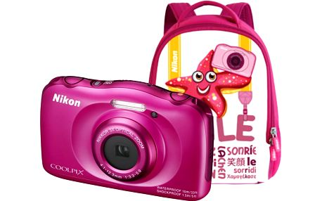 Nikon Coolpix S33, růžová + Backpack kit