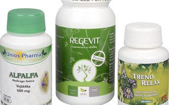 Sada Na Žaludek - Alfalfa 600 mg 90 tbl. + Natural Medicaments Regevit 200 tbl. + Trend Relax 90 tbl.