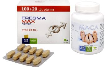 Sada Na Mužské pohlavní orgány - Eregma MAX power 100 tbl. + 20 tbl. ZDARMA + Maca 100 tob.