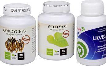 Sada Na Štítnou žlázu - Cordyceps Premium 90 kapslí + LKVB6 90 tbl. + Wild Yam Premium 90 kapslí